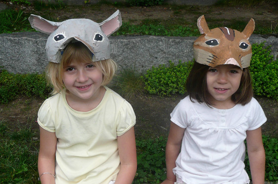 Mouse and chipmunk masks.