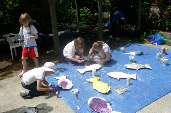 Painting fish for the Mystic River.