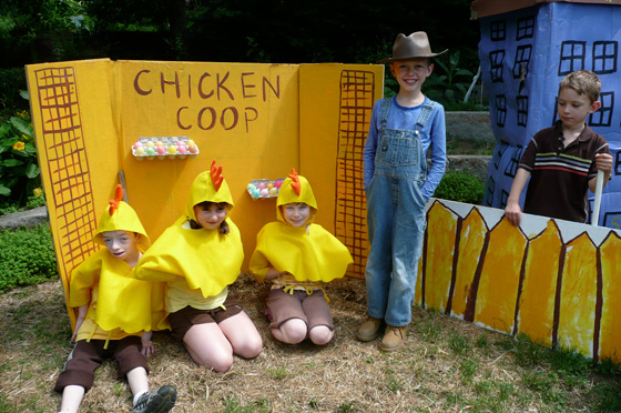 Indy, a young farmer, and his chickens.